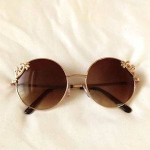 Boho palm tree circle lens sunglasses